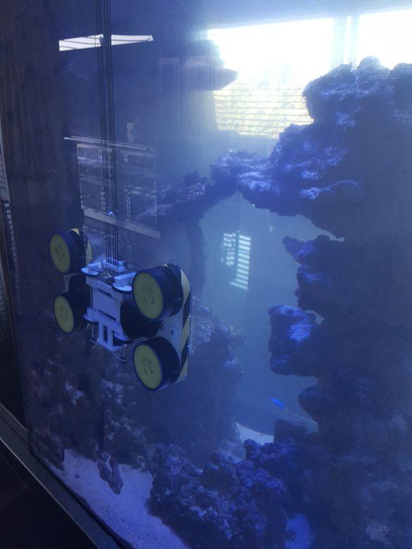 Machine de nettoyage pour panneaux vitrés des grands Aquariums